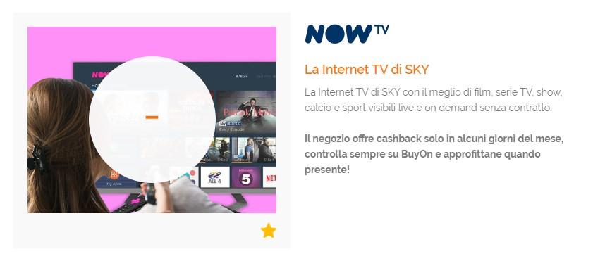 BuyOn cashback NowTV